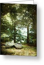Canoes On The Shore Greeting Card by Stephanie Frey
