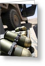 Cans Of Opened 40 Mm Grenades Greeting Card by Stocktrek Images