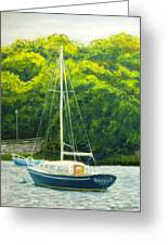 Cape Cod Sailboat Greeting Card by Joan Swanson