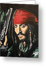 Captain Jack Sparrow Greeting Card by Tom Carlton