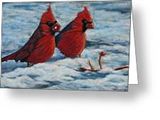 Cardinals In Winter Greeting Card by Tracey Hunnewell