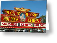 Carnival Festival Fun Fair Hot Dog Stand Greeting Card by Kathy Fornal