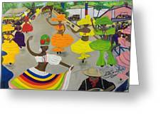 Carnival In Port-au-prince Haiti Greeting Card by Nicole Jean-Louis