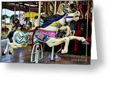 Carousel - Horse - Jumping Greeting Card by Paul Ward