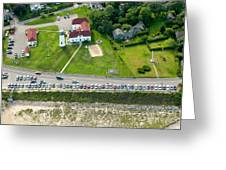 Cars Line Up At The Parking Lot At Chatham Lighthouse And Chatha Greeting Card by Matt Suess
