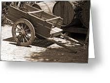 Cart And Wine Barrels In Italy Greeting Card by Greg Matchick