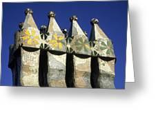 Casa Batllo Chimneys Greeting Card by Martin Cameron