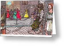 Castle Hill Street  Gang  Greeting Card by Al Goldfarb