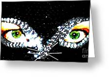 Cat Mask Greeting Card by C Lythgo