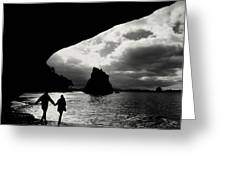 Cathedral Cove Greeting Card by Varinia Blyth