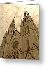 Cathedral Of St John The Baptist In Sepia Greeting Card by Suzanne Gaff