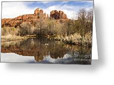 Cathedral Rock Reflections Landscape Greeting Card by Darcy Michaelchuk