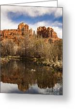 Cathedral Rock Reflections Portrait 1 Greeting Card by Darcy Michaelchuk