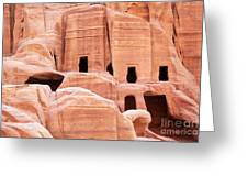 Cave Dwellings Petra. Greeting Card by Jane Rix