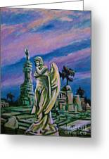 Cemetary Guardian Greeting Card by John Malone
