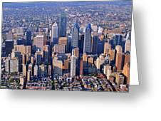Center City Aerial Photograph Skyline Philadelphia Pennsylvania 19103 Greeting Card by Duncan Pearson