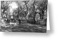 Central Park Mall In Black And White Greeting Card by Rob Hans