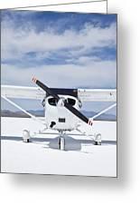 Cessna Aircraft On Bonneville Salt Flats Greeting Card by Paul Edmondson