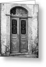 chained up wooden door to derelict house near the restricted area of the UN buffer zone Greeting Card by Joe Fox
