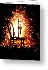 Chair And Horn With Fireworks Greeting Card by Garry Gay