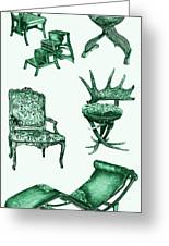 Chair Poster In Green  Greeting Card by Adendorff Design