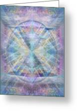 Chalice Of Vorticspheres Of Color Shining Forth Over Tapestry Greeting Card by Christopher Pringer