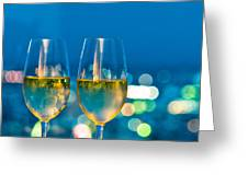 Champagne glasses in front of a window Greeting Card by Ulrich Schade