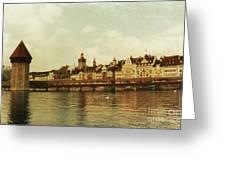 Chapel Bridge Lucerne Switzerland Greeting Card by Susanne Van Hulst