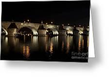 Charles Bridge At Night Greeting Card by Michal Boubin