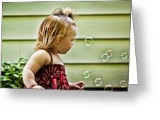 Chasing Bubbles Greeting Card by Matt Dobson