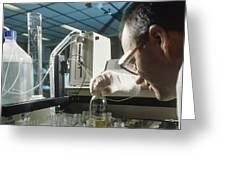 Chemist Analysing Fluids For Pesticide Pollutants Greeting Card by Tek Image