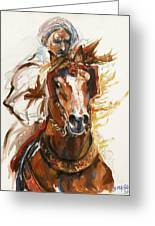 Cheval Arabe Monte En Action Greeting Card by Josette SPIAGGIA