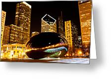 Chicago Bean Cloud Gate At Night Greeting Card by Paul Velgos