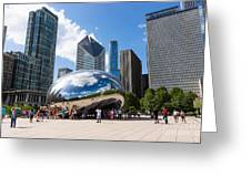 Chicago Bean Cloud Gate With People Greeting Card by Paul Velgos