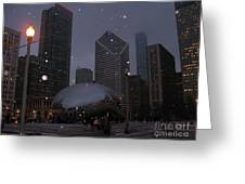 Chicago Cloud Gate At Night Greeting Card by Ausra Paulauskaite