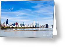 Chicago Lakefront Skyline Wide Angle Greeting Card by Paul Velgos