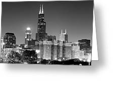 Chicago Night Skyline In Black And White Greeting Card by Paul Velgos
