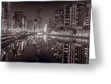Chicago River East BW Greeting Card by Steve Gadomski
