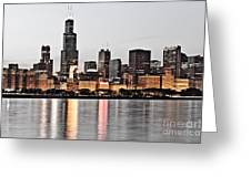 Chicago Skyline At Dusk Photo Greeting Card by Paul Velgos
