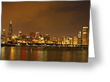 Chicago Skyline At Night Greeting Card by Axiom Photographic