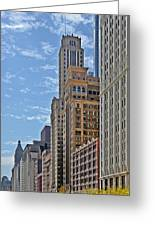 Chicago Willoughby Tower And 6 N Michigan Avenue Greeting Card by Christine Till