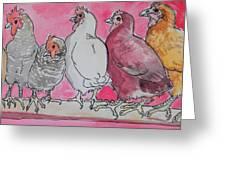Chickens Greeting Card by Jenn Cunningham