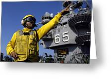 Chief Aviation Boatswains Mate Directs Greeting Card by Stocktrek Images