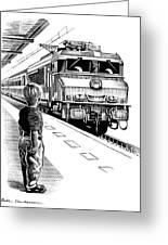 Child Train Safety, Artwork Greeting Card by Bill Sanderson