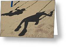 Children Cast Body Shadows In The Sand Greeting Card by Stacy Gold