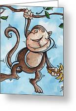Childrens Whimsical Nursery Art Original Monkey Painting Monkey Buttons By Madart Greeting Card by Megan Duncanson