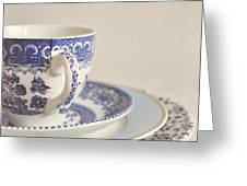 China Cup And Plates Greeting Card by Lyn Randle