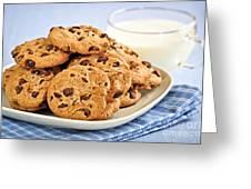 Chocolate chip cookies and milk Greeting Card by Elena Elisseeva