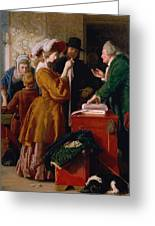 Choosing The Wedding Gown From Chapter 1 Of 'the Vicar Of Wakefield' Greeting Card by William Mulready