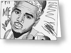 Chris Brown CB Drawing Greeting Card by Kenal Louis